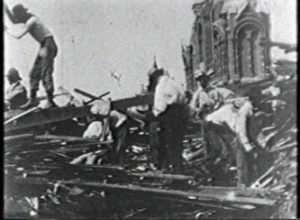 Galveston Hurricane of 1900 - Searching Ruins on Broadway, Galveston, for Dead Bodies